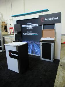 Modified ecoSmart ECO-1067 Sustainable Exhibit with Fabric and Direct Print Graphics, Canopy, Shelves, Backwall Counter, Monitor Mount and ECO-33C Podium