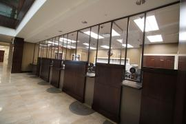 Custom-Sized and Powder-coated Safety Dividers for a Bank Lobby